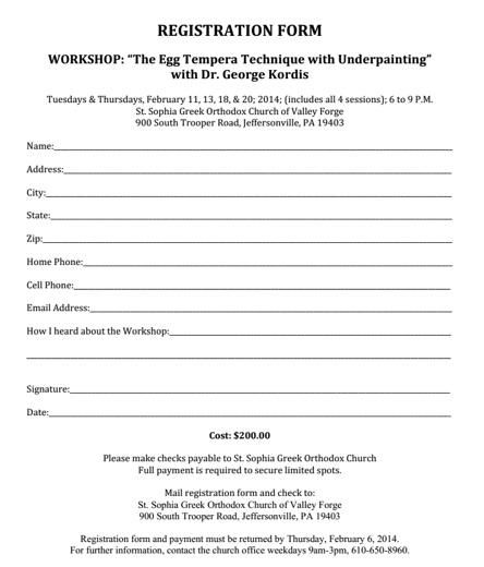 St Sophia Workshop registration