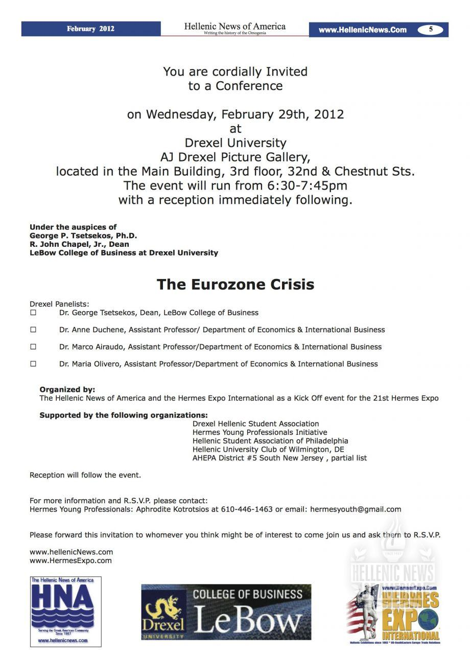 """Drexel's LeBow College of Business to host """"EuroZone Crisis"""" Conference February 29th"""