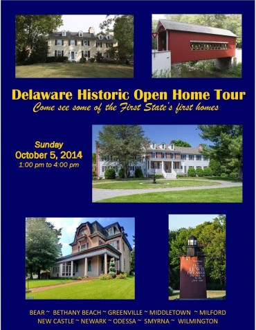 FIRST EVER DELAWARE STATE-WIDE HISTORIC OPEN HOUSE DAY SCHEDULED FOR OCTOBER 5, 2014