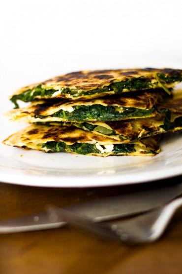 Greek Spinach & Feta Quesadillas with Tzatziki Sauce