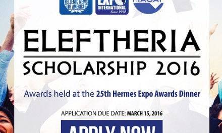 $20,000 in Scholarship Awards Will Be Awarded to Greek-American High School and Undergraduate Students at the 25th Hermes Expo Awards Dinner on Tuesday, April 5, 2016, at the Concordville Inn