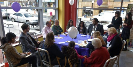 "Johns Hopkins Medicine and Called to CARE, a program for family caregivers, hold a ""Caregiver Cafe"" at the Southeast Anchor Library on Eastern Avenue in Highlandtown as a way for the  caregiver community to learn about resources in their area. (Algerina Perna / Baltimore Sun)"