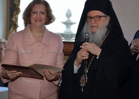 His Eminence, Archbishop Demetrios with Director Maria Makedon. Photo by Stavroula Nicolas Raia.