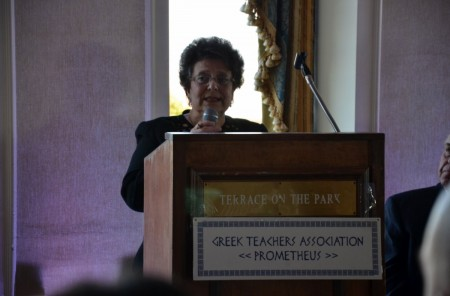 Presentation by Mrs. Athena Tsokou-Kromidas, Principal of  William Spyropoulos Greek American Day School, Flushing, New York. . Photo by Stavroula Nicolas Raia.