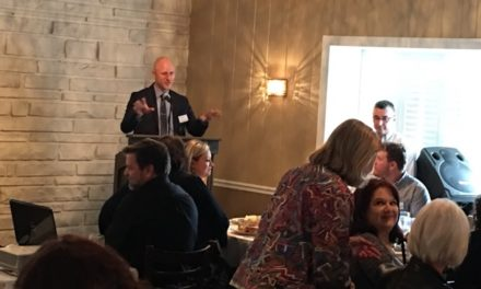 Grant Gegwich addresses the Suburban Philadelphia Press Club promoting Crozer-Keystone Health System