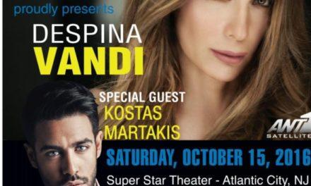 Greek Concert Promotions Presents Despina Vandi and Kostas Martakis in Atlantic City, NJ