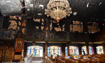 Archbishop Demetrios Visits Transfiguration Church in Corona, NY following destructive fire