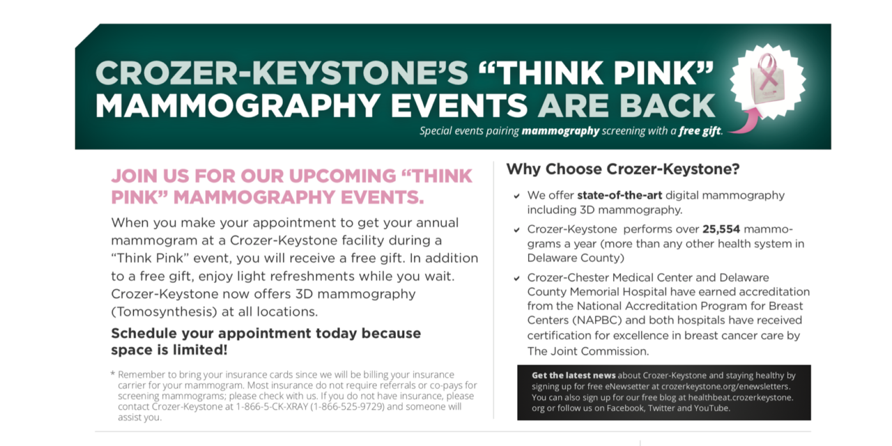 Crozer-Keystone to Hold Popular 'Think Pink' Mammography Events