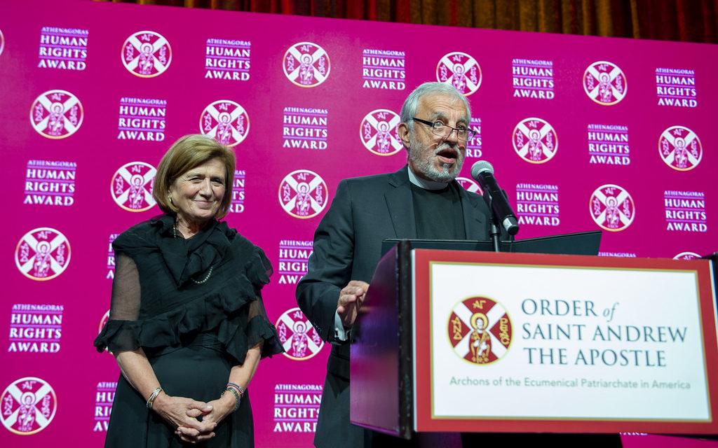 Father Alex and Presbytera Xanthi Karloutsos receive the Athenagoras Human Rights Award