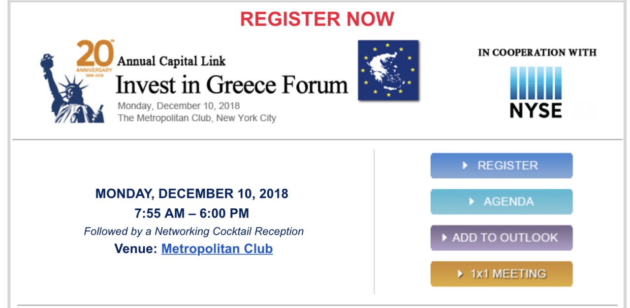 Register for 20th Annual Capital Link Invest in Greece Forum – Monday, December 10, 2018 in NYC